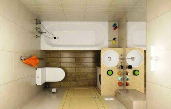 Сделать ванную в хрущевке более удобной - раковину можно установить над стиральной машиной