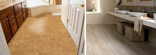 Пол в ванной в деревянном доме можно сделать из пробки или ПВХ плитки