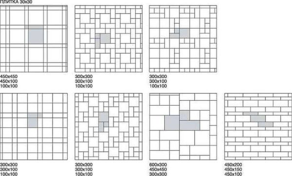 Варианты укладки плитки в ванной на пол - разные размеры и схемы