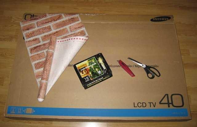Как сделать камин из коробки от телевизора
