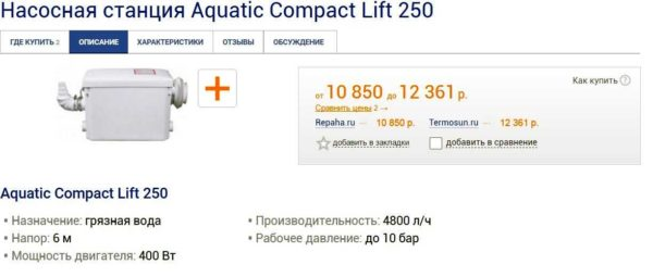 Канализационный насос AquatikCompact LIFT