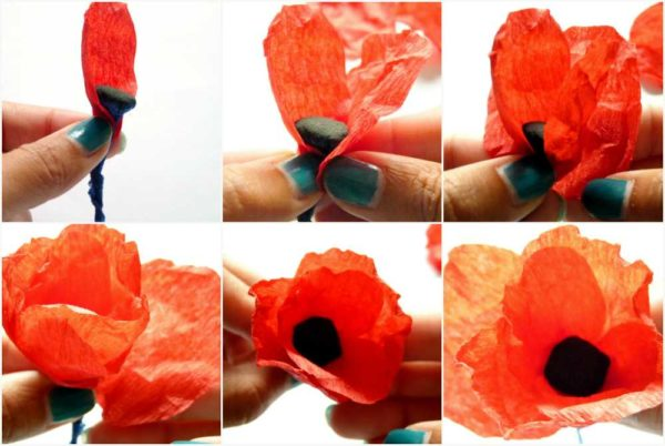 Собираем цветы из гофрированной бумаги своими руками