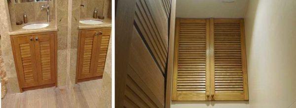 В ванных, туалетах, кухонных шкафах можно использовать в качестве дверок для шкафчиков