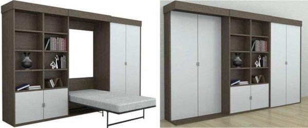 Трансформируемая кровать может быть спрятана в стенке