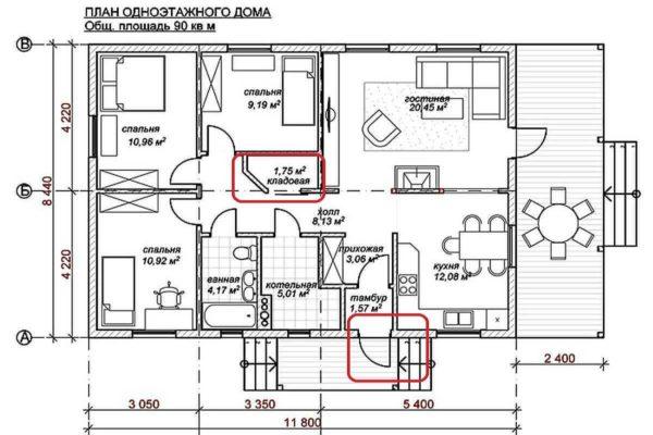 Проект одноэтажного дома с тремя спальнями и террасой (90 кв. м.)