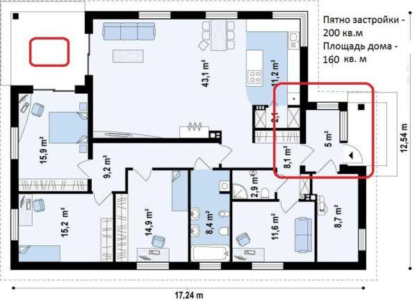 Одноэтажный дом площадью 160 кв. м, с тремя спальнями и кабинетом, котельной и небольшой угловой верандой