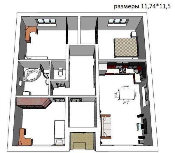 Проект квадратного одноэтажного дома с тремя спальнями