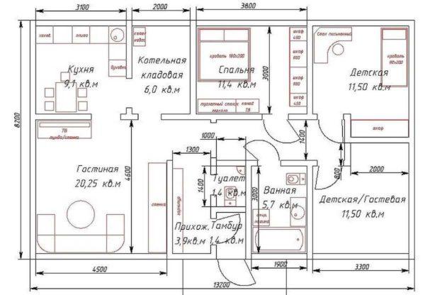 Пример планировки одноэтажного дома с тремя спальнями на 110 квадратных метров