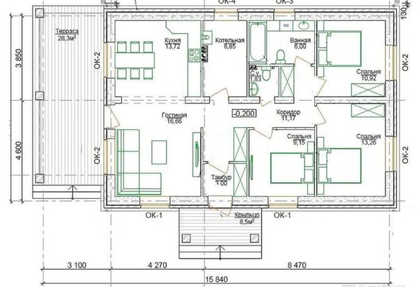 Проект одноэтажного дома с 3 спальнями и террасой