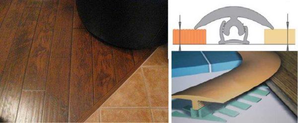 Использование ПВХ профиля для оформления шва между плиткой и ламинатом