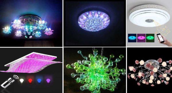 Некоторые светодиодные люстры для дома с пультом управления могут изменять еще и цвет