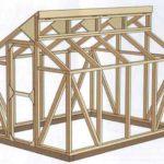 Вариант теплицы с деревянным каркасом и разноуровневой двускатной крышей