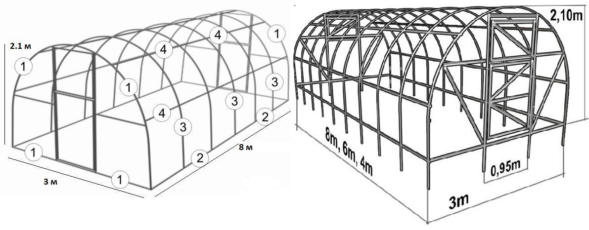 Теплицы из поликарбоната своими руками из поликарбоната чертеж 10