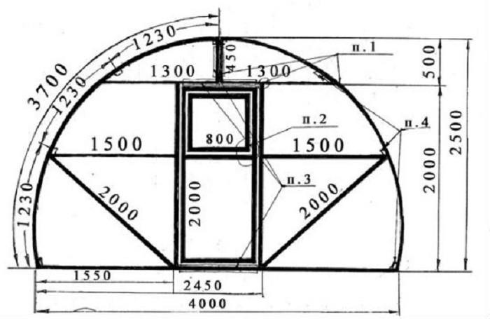 54Теплица домик своими руками из поликарбоната чертеж