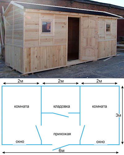 Дачная двухкомнатная бытовка с туалетом и душем 6*3 метра