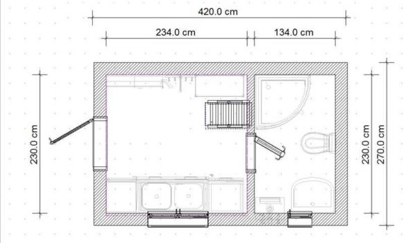Минимальные размеры бытовки с душем и туалетом - 4,5 м