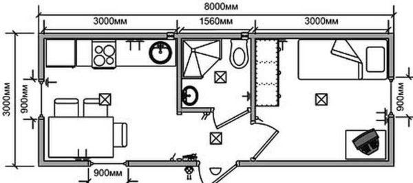 Дачная двухкомнатная бытовка с туалетом и душем 3*8 метра. По планировке - традиционная распашонка. Обогреть ее сложно