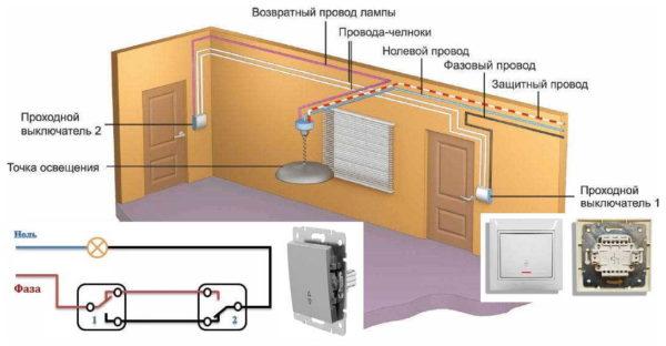 Принцип подключения проходного выключателя