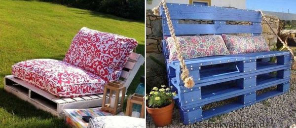 Два вида диванчиков/скамеек для отдыха