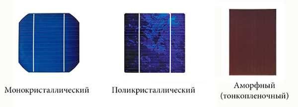 Виды кремниевых фотоэлементов для солнечных батарей