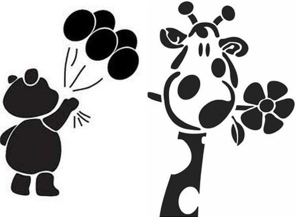 Стилизованные животные и герои мультфильмов - трафареты для стен под покраску в детских