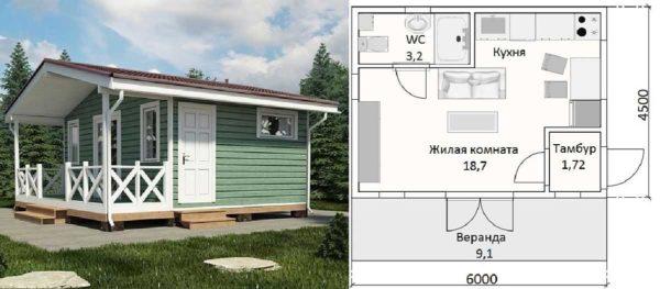 Проект дачного дома 6*4 с верандой и санузлом