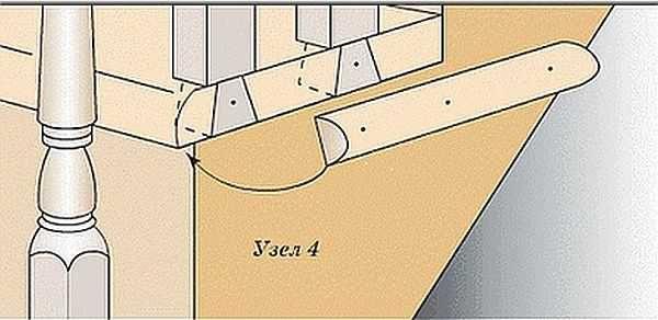 """При креплении """"ласточкин хвост"""" можно еще гвоздями укрепить соединение балясины и ступеньки"""