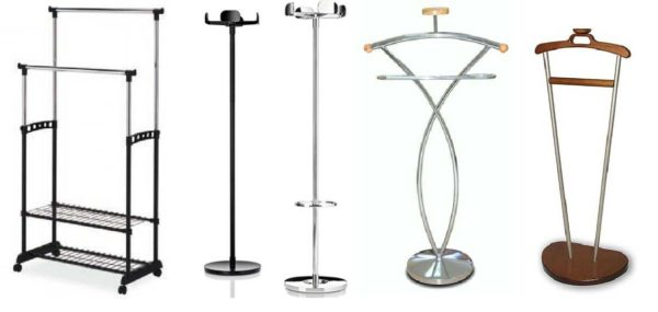 Несколько моделей металлических напольных вешалок