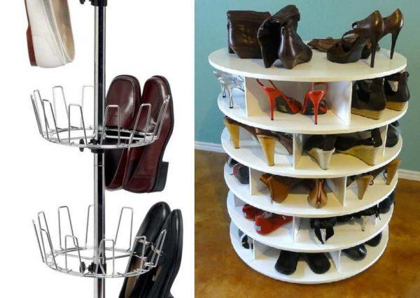 Крутящаяся полка для обуви - хороша идея для оптимального использования площади