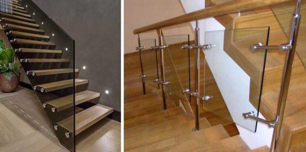 Есть два типа лестничных перил из стекла: базкаркасные (только из стекла) и когда стекло - только заполнение