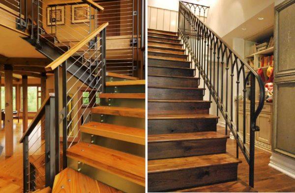 Большая часть лестниц для частного дома делается из нескольких материалов
