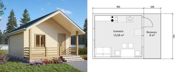 Проект маленького дачного дома с верандой под общей крышей