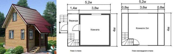 Небольшой дачный дом 54 на две жилых комнаты с мансардой