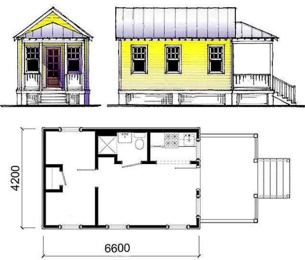 """Планировка дачного дома 64 с кухней, туалетом, летней верандой и """"зимним"""" входом с тамбуром"""