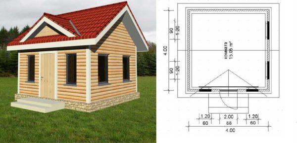Маленький дачный дом из бруса 44 - совсем простой проект