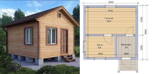 Одноэтажный дачный дом 55 метров: проект с планировкой