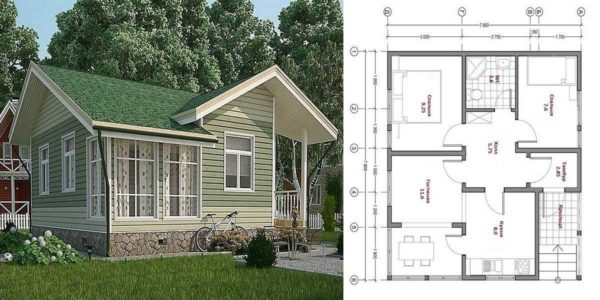 Дачный дом с зарытой зимней верандой 8*8 метров, проект с планировкой