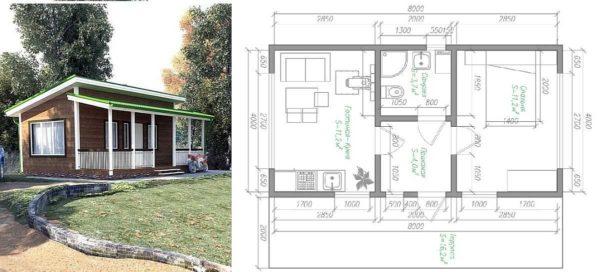 План дачного дома 4*8 с пристроенной верандой