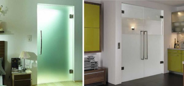 Устанавливать стеклянные двери можно непосредственно в дверной пролет, без дверной коробки