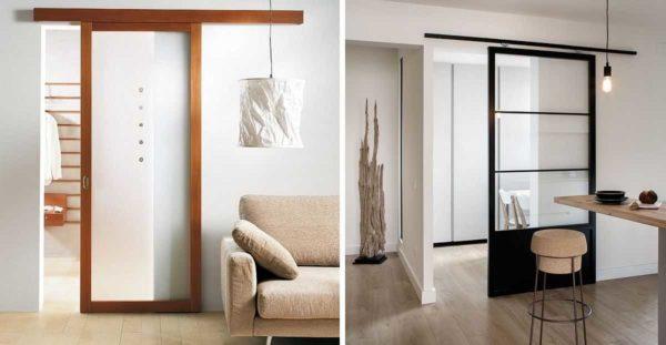 Способ открывания один, но насколько по-разному смотрятся эти две межкомнатные стеклянные двери