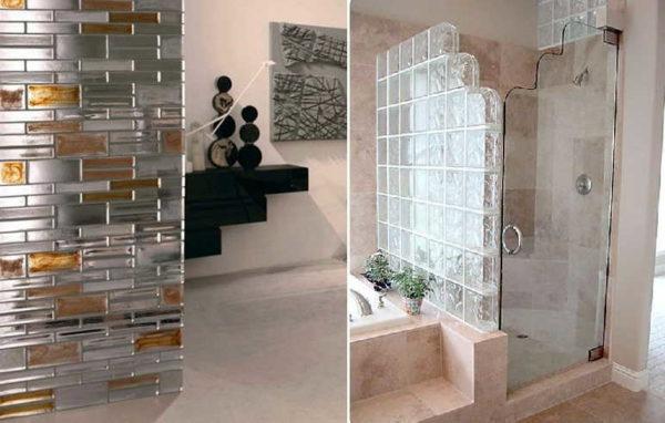 Стеклянная перегородка из стеклянных блоков уже когда-то были популярны, но с развитием технологий выглядеть стали намного привлекательней