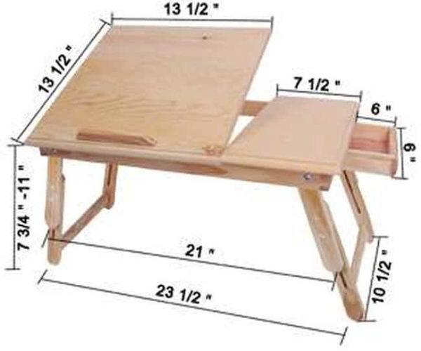 Столик для сервировки завтрака в кровати с ящичком (размеры в дюймах)
