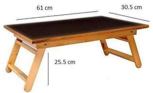 Простой кроватный столик для сервировки завтрака в кровати с размерами