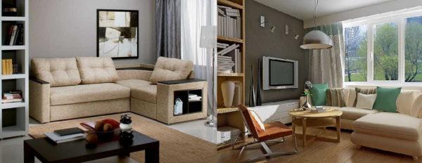 Угловой диван в маленькой гостиной совсем не смотрится массивным