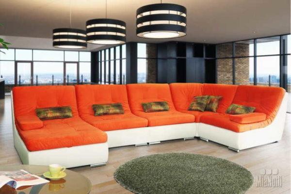 Модульный угловой диван состоит из трех и более отдельных частей