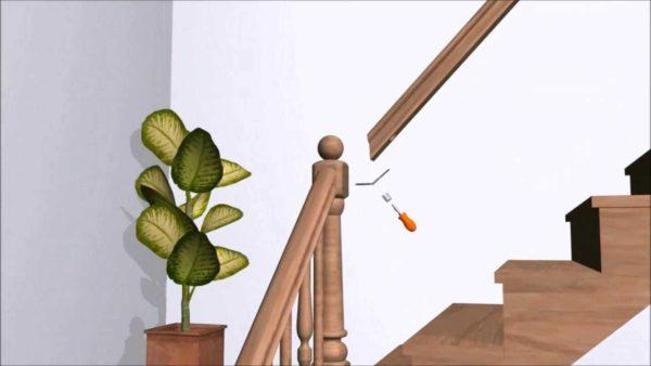 Принцип соединения лестничного столба и перил под углом