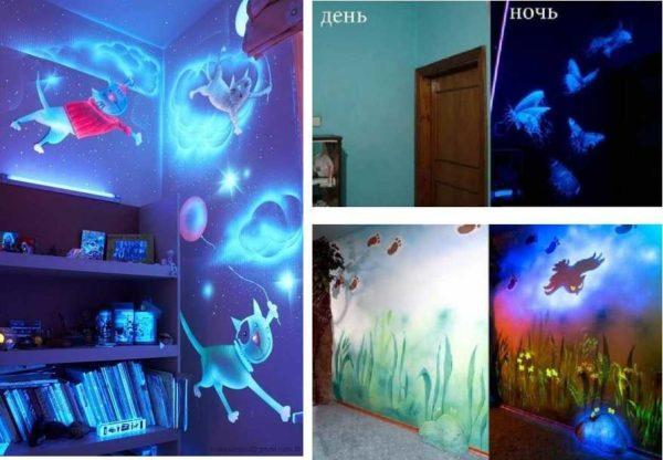 Если умеете рисовать, можно превратить вечером детскую в сказочное место. Просто есть специальные флюоресцентные краски
