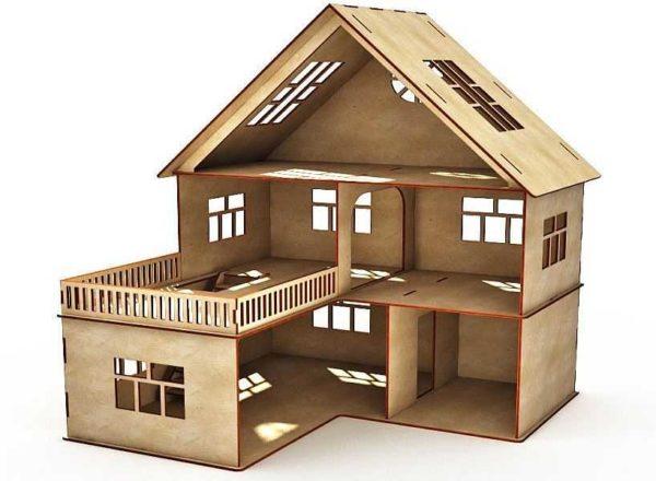 Двухэтажный кукольный дом с гаражом и трассой над ним