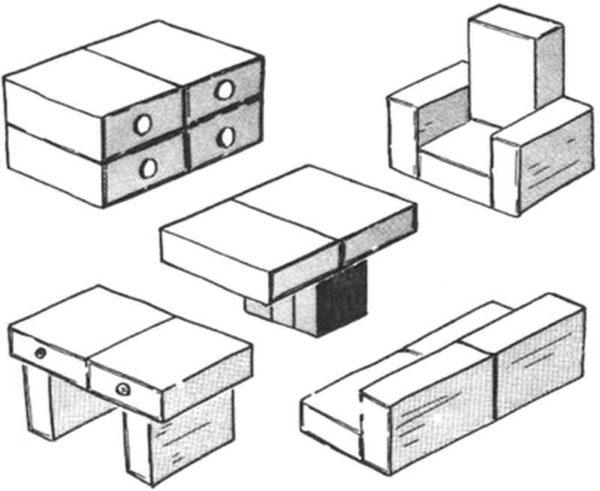 Простая самодельная кукольная мебель из спичечных коробков