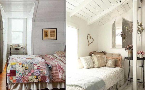 Спальня в стиле прованс хорошо сочетается с крашеной доской